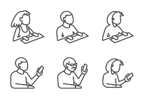 Set of people's bust in isometric projection as users with gadgets in line style