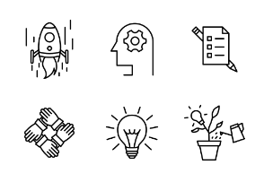 Set of startup vector line icons.