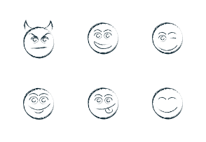 Smiley emoticons brush outline