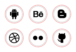 Free Round Stitches Social Media Icons
