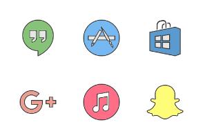 Social Media & Logos I Filled Line