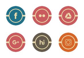 Social Media Line Filled Circle Vintage