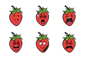 Strawberry Emoji Cartoons