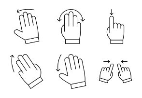 Touch Screen Gestures line set 1