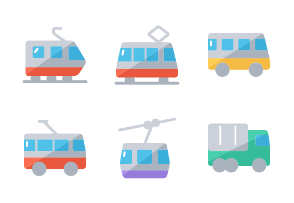 Transportation icons flat