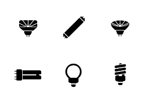 Types of light bulbs in glyph style