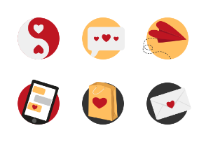 Valentine`s day colored icon set