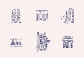 Vintage houses and stores