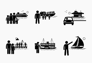 Water Sea Transportation Vehicles and People