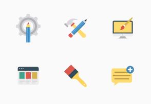 Web Design & Development Flat Set 2