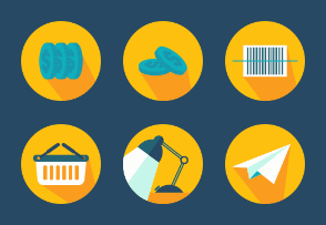 Yellow - Dark Blue Business Icons