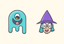 Cute Halloween Characters - Colored