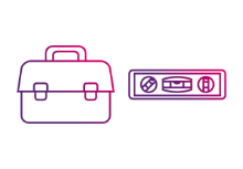 Hardware tools line purple
